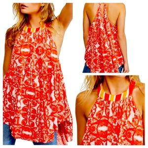 FREE PEOPLE TUNIC SLEEVELESS IN ORANGY/RED
